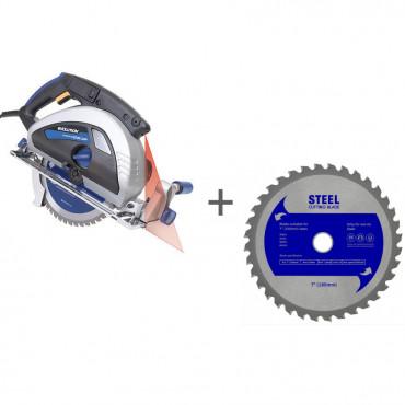 Пила циркулярная по металлу c лазерным наведением EVOLUTION EVOSAW180 + Диск пильный по стали 180 мм в подарок!