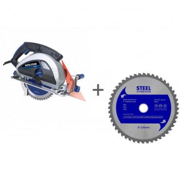 Пила циркулярная по металлу до 12 мм EVOLUTION EVOSAW 230 c лазерным наведением + Диск по стали 230 мм в подарок!