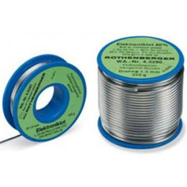 Припой для пайки электроники Rothenberger 1,5ММ  L-SN 60PB CU2, катушка,  100г