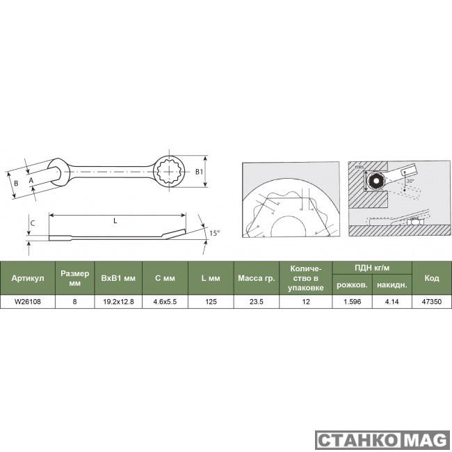Ключ гаечный комбинированный, 13 мм JONNESWAY W26113