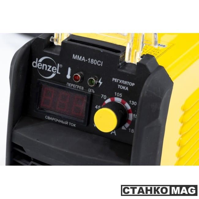 Denzel Аппарат инверторный для дуговой сварки ММА-180CI (180 А, ПВР 80%, диам. 1,6-5 мм)