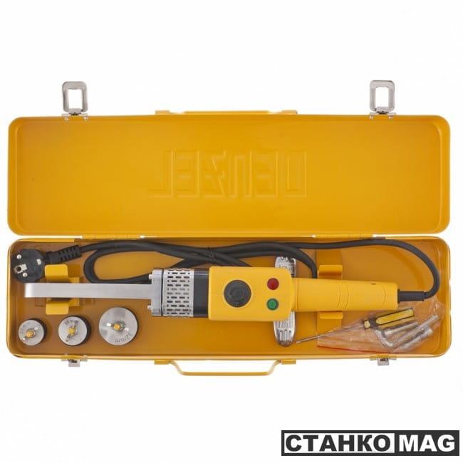 Denzel Аппарат для сварки пластиковых труб DWP-800 Х-PRO (800 Вт, 300 град., компл насадок, 20-32 мм)