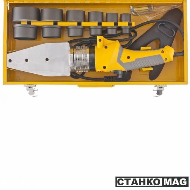 Denzel Аппарат для сварки пластиковых труб DWP-2000 Х-PRO (2000 Вт, 300 град., компл насадок, 20-63 мм)