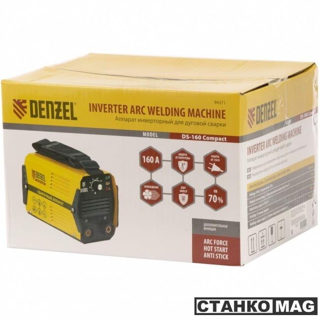 Denzel Аппарат инвертор. дуговой сварки DS-160 Compact (160 А, ПВ 70%, диам.эл. 1,6-3,2 мм)