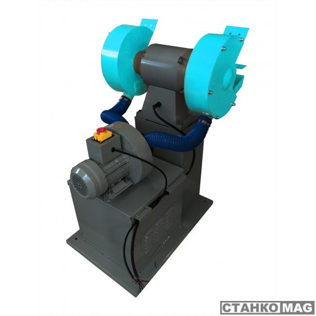 Двухдисковый шлифовальный станок с пылесосом AURA NM-300DC