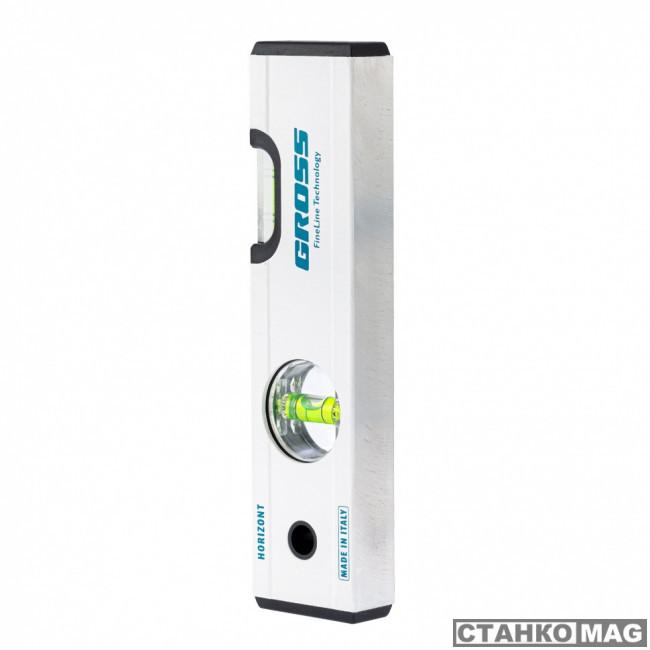 Уровень алюминиевый GROSS, 200 мм, фрезерованный, 2 глазка, магнитный
